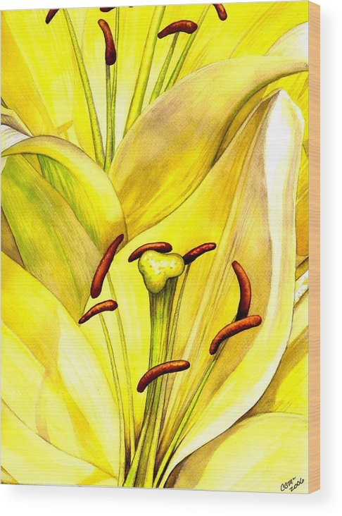 Lily Wood Print featuring the painting Daylily by Catherine G McElroy