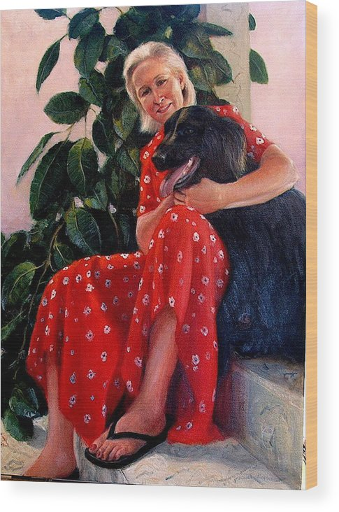 Realism Wood Print featuring the painting Diane And Cinder by Donelli DiMaria