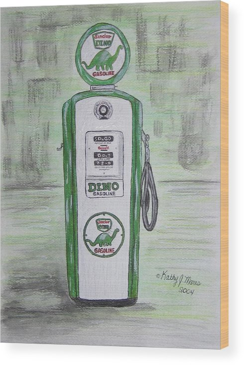 Dino Wood Print featuring the painting Dino Sinclair Gas Pump by Kathy Marrs Chandler