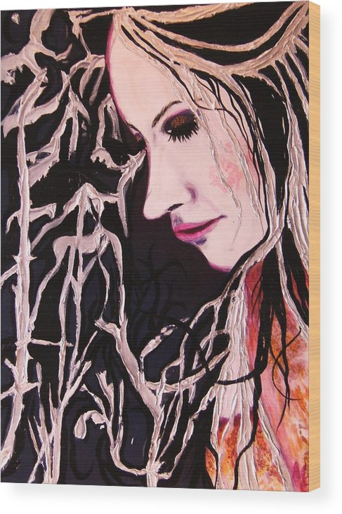 Diva Wood Print featuring the painting Diva Sarah by Meshal Hardie