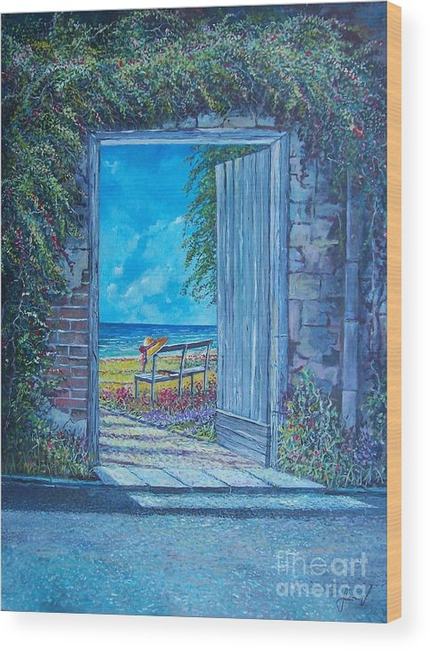 Original Painting Wood Print featuring the painting Doorway To ... by Sinisa Saratlic