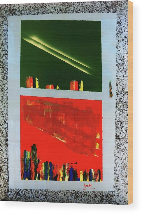 Bstract Wood Print featuring the painting Double Sunrise by Adolfo hector Penas alvarado
