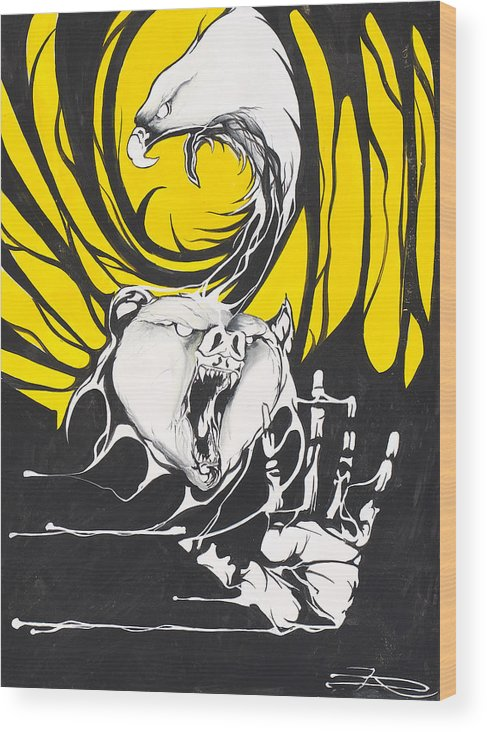 Eagle Wood Print featuring the painting Eagle And Bear by Dallas Poundmaker