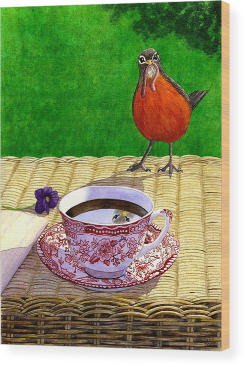 Robin Wood Print featuring the painting Early Bird by Catherine G McElroy