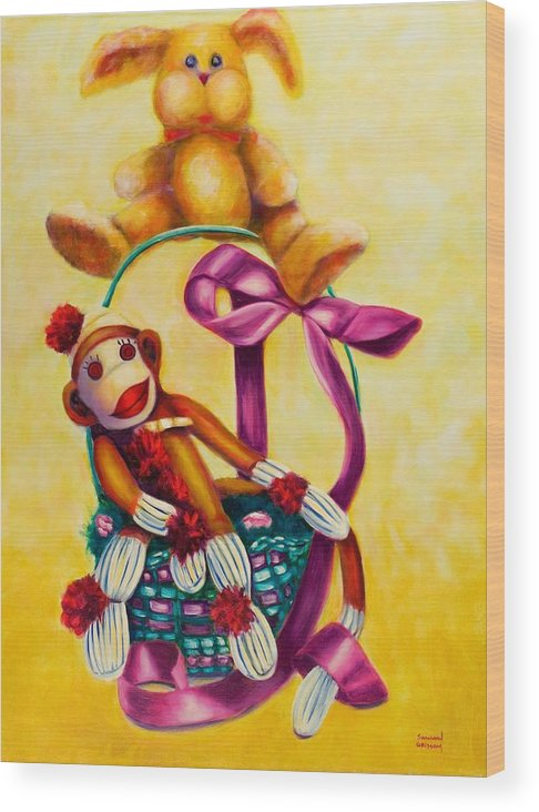 Easter Wood Print featuring the painting Easter Made Of Sockies by Shannon Grissom