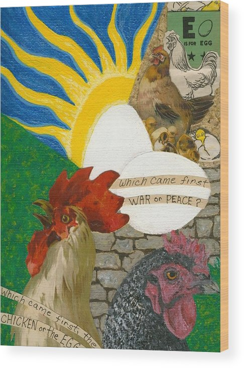 Chickens Wood Print featuring the mixed media Eggistence by Tree Whisper Art - DLynneS