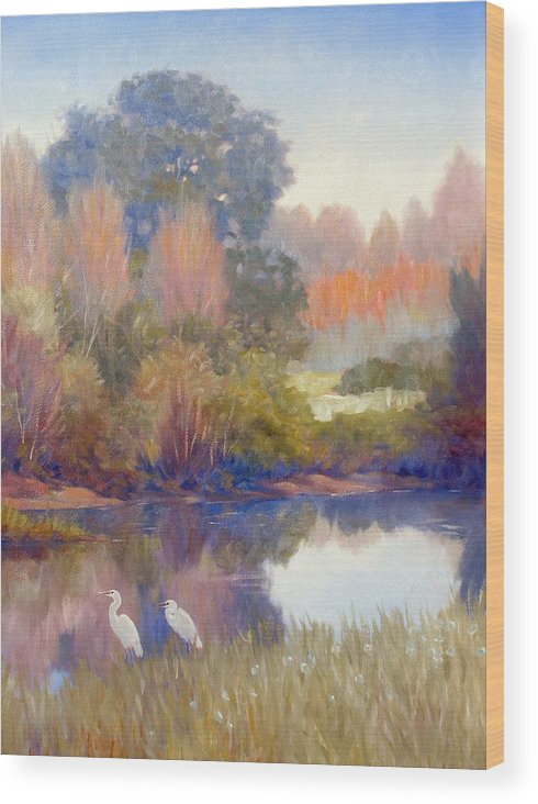 Egrets Wood Print featuring the painting Egrets by Kevin Lawrence Leveque
