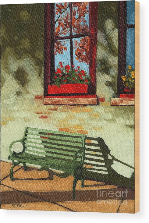 City Bench Wood Print featuring the painting Empty Bench by Linda Apple