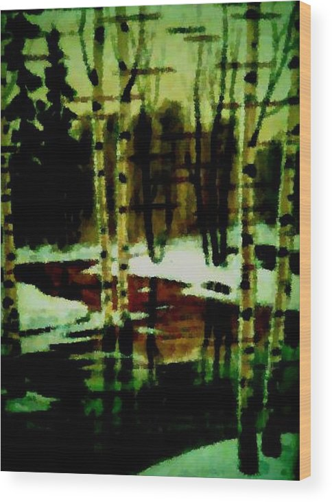 Sprig.forest.snow.water.trees.birches. Puddles.sky.reflection. Wood Print featuring the digital art European Spring by Dr Loifer Vladimir