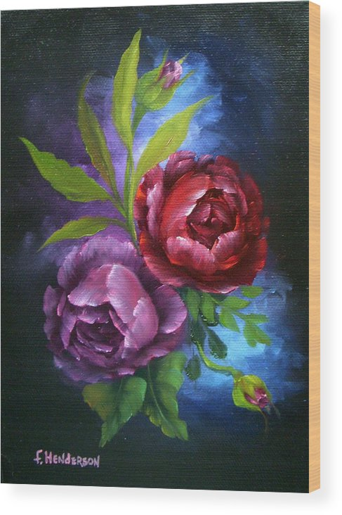 Roses Wood Print featuring the painting Evening Roses by Francine Henderson