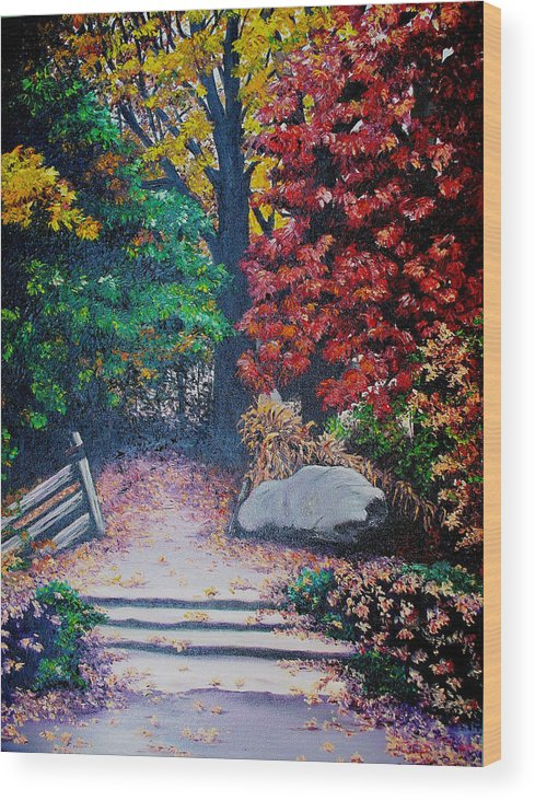 A N Original Painting Of An Autumn Scene In The Gateneau In Quebec Wood Print featuring the painting Fall In Quebec Canada by Karin Dawn Kelshall- Best
