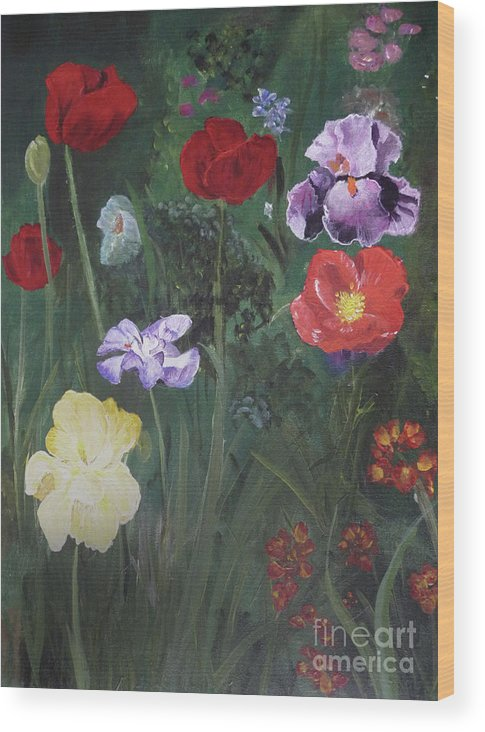 Flowers Wood Print featuring the painting Family Flowers by Michael King