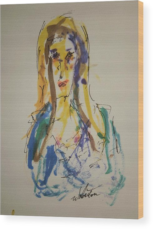 Portrait Wood Print featuring the painting Female Face Study P by Edward Wolverton