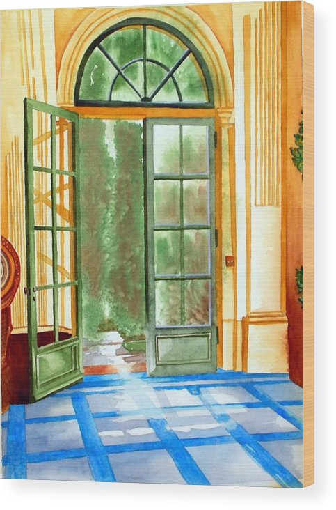 Watercolor Wood Print featuring the painting Filoli Tea House by Gerald Carpenter