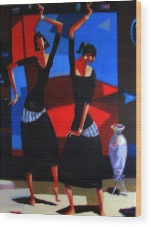 Figure Wood Print featuring the painting Finger Dance by Ihab Bishai