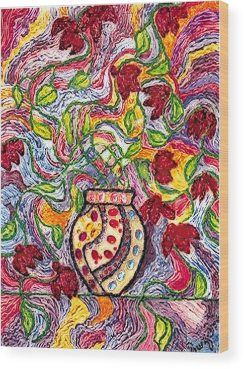 Flowers Wood Print featuring the painting Floowers In A Jeweled Vase by Brenda Adams