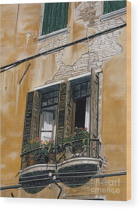 Florance Wood Print featuring the painting Florence Balcony by Jiji Lee