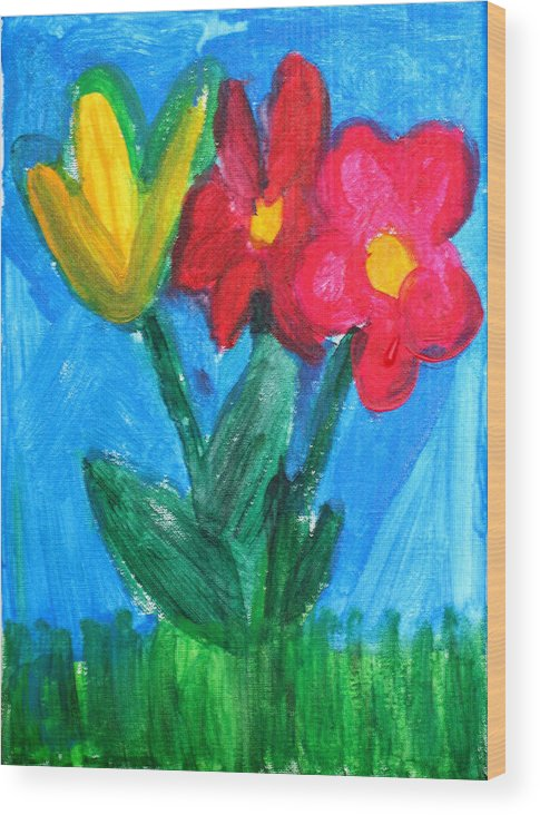 Flowers Wood Print featuring the painting Flowers by Ann Lyons