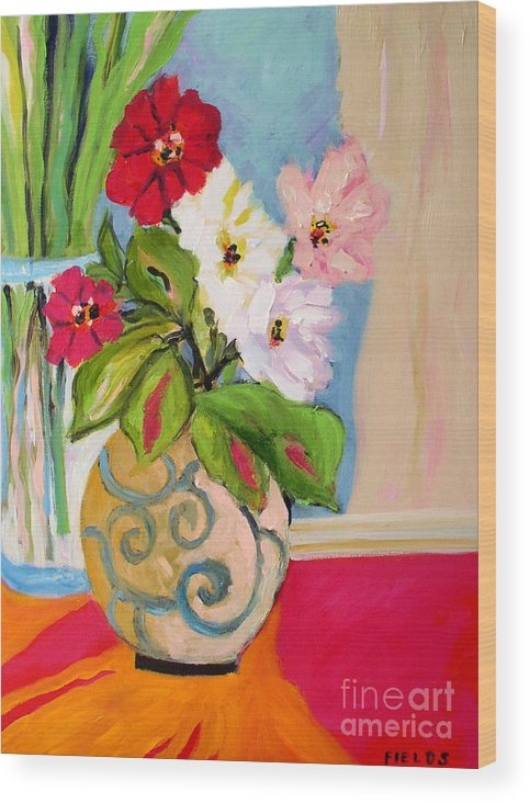 Flowers Wood Print featuring the painting Flowers In Vases by Karen Fields
