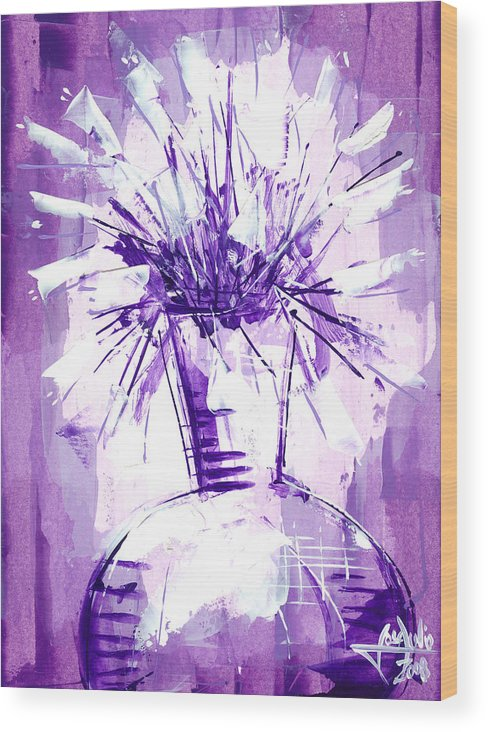 Oil Bristol Abstract Floral Nature Impressionist Surreal Representative Art Painting Jose Julio Wood Print featuring the painting Flowery Purple IIi by Jose Julio Perez