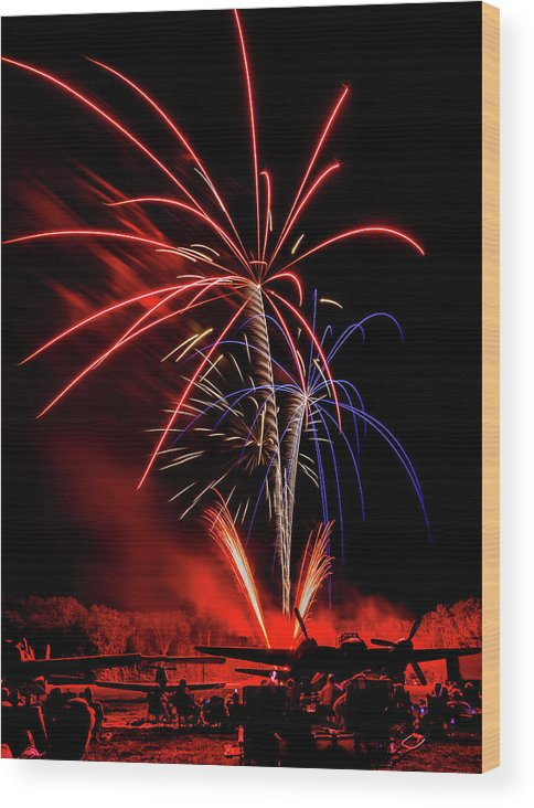 Mam Wood Print featuring the photograph Flying Prom Fireworks by Heiko DeWees