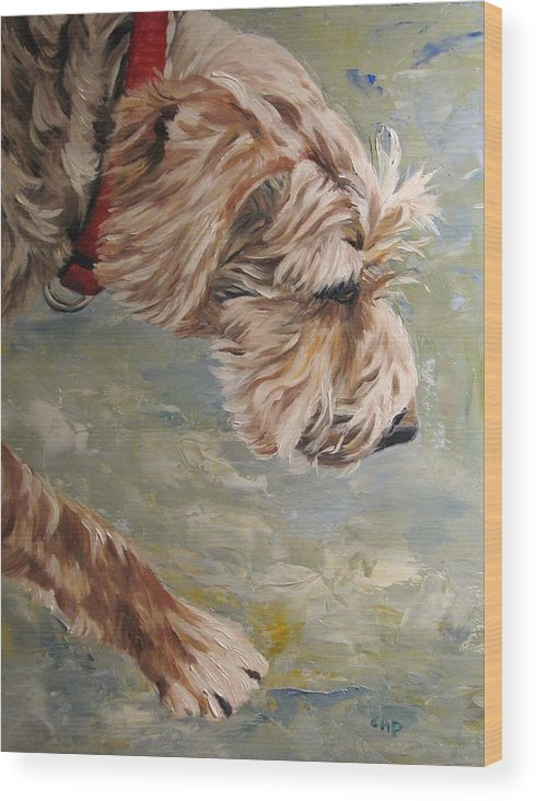 Dog Wood Print featuring the painting Follow Your Nose by Cheryl Pass