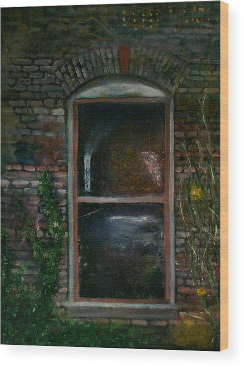 Landscape Wood Print featuring the painting For Rent by Stephen King
