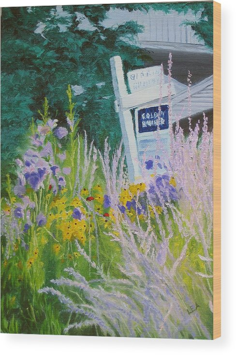 Landscape Wood Print featuring the painting For Sale - A Patch Of Paradise by Lea Novak