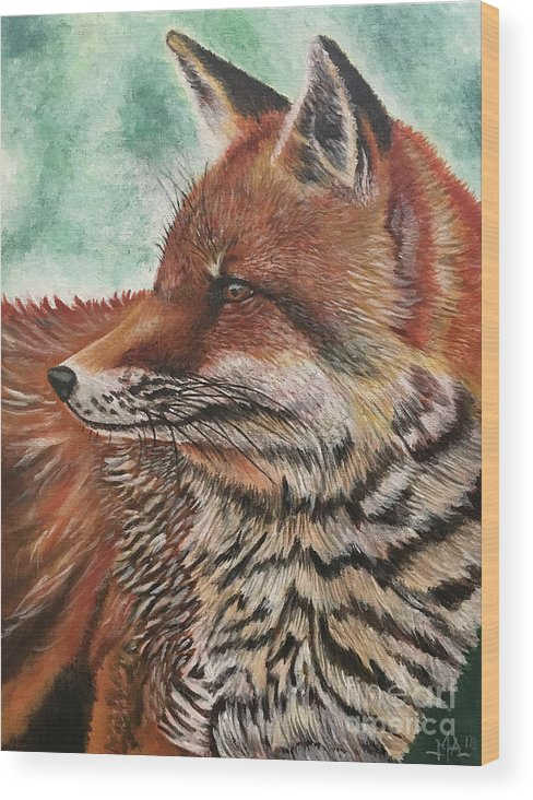 Fox Wood Print featuring the painting Fox by Monica Aguilar