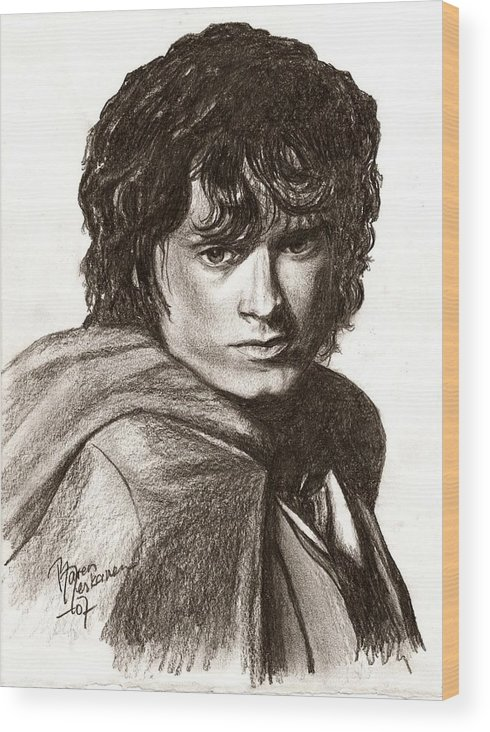 The Lord Of The Rings Wood Print featuring the drawing Frodo by Maren Jeskanen