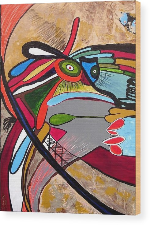 Abstract Frog Wood Print featuring the painting Frog by Ofelia Uz