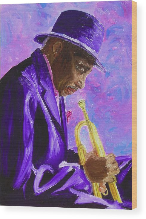 Street Musician Trumpet Player Wood Print featuring the painting From The Soul by Michael Lee