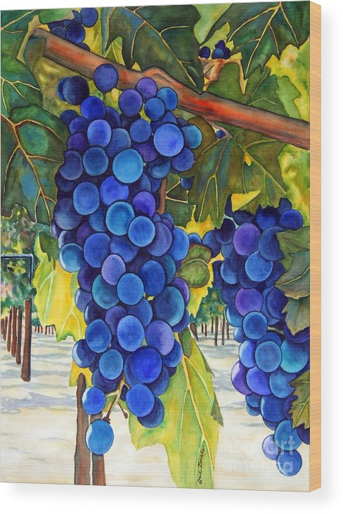 Grapes Wood Print featuring the painting From The Vineyard by Gail Zavala