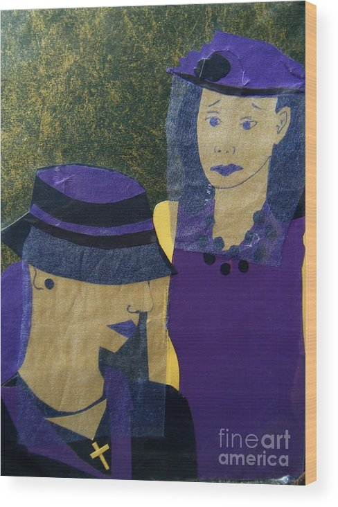Purple Wood Print featuring the mixed media Funeral Masks by Debra Bretton Robinson