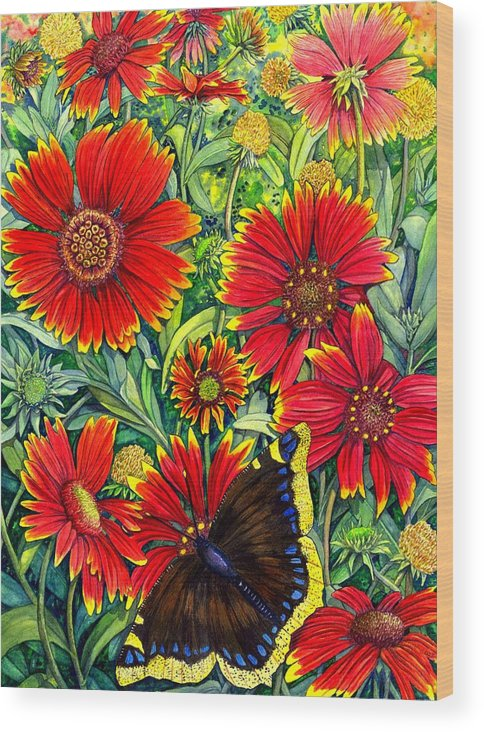 Butterfly Wood Print featuring the painting Gaillardia by Catherine G McElroy