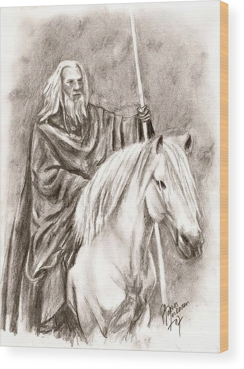 The Lord Of The Rings Wood Print featuring the drawing Gandalf With Shadowfax by Maren Jeskanen