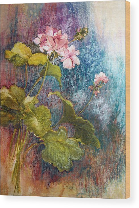 Mixed Media;geraniums;chalk;floral;flowers;contemporary; Wood Print featuring the mixed media Geraniums by Lois Mountz