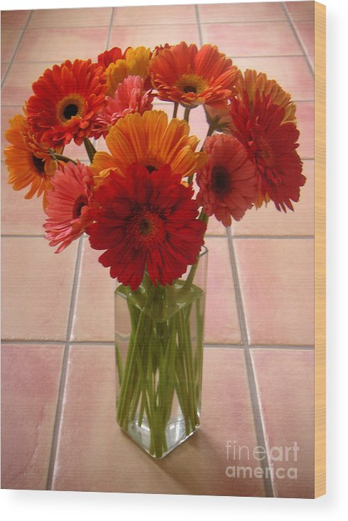 Nature Wood Print featuring the photograph Gerbera Daisies - On Tile by Lucyna A M Green