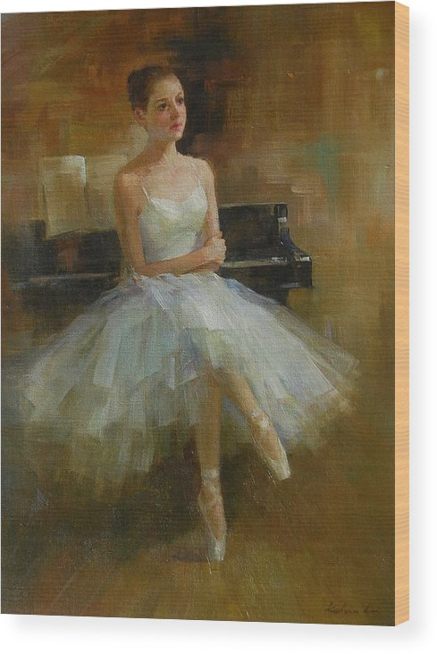 Figurative Painting Wood Print featuring the painting Girl And Piano by Kelvin Lei