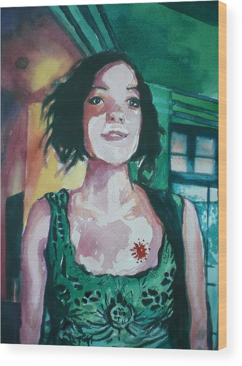 Wood Print featuring the painting Girl In Green by Aleksandra Buha