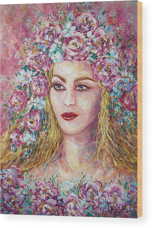 Goddess Of Good Fortune Wood Print featuring the painting Goddess Of Good Fortune by Natalie Holland