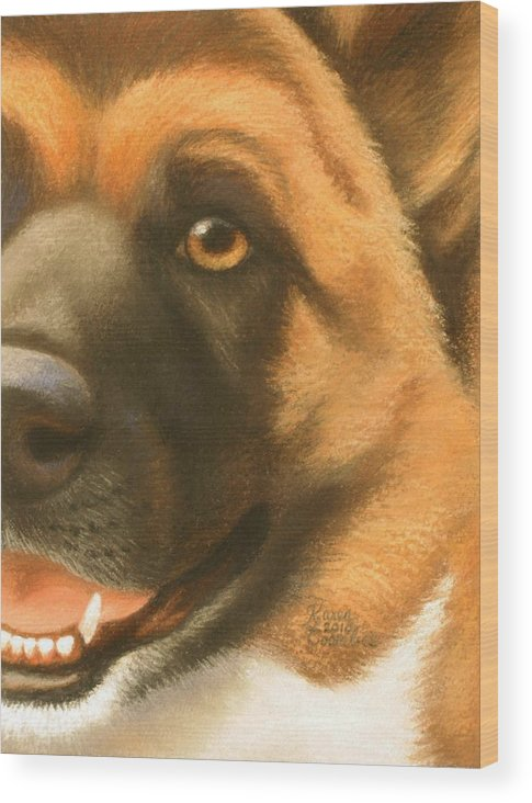 Dog Wood Print featuring the pastel Goggie Akita by Karen Coombes