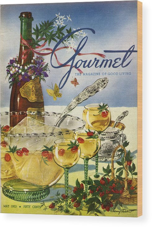 Illustration Wood Print featuring the photograph Gourmet Cover Featuring A Bowl And Glasses by Henry Stahlhut