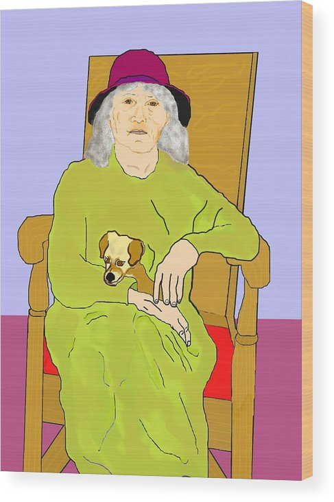 Grandmother Wood Print featuring the painting Grandma And Puppy by Pharris Art