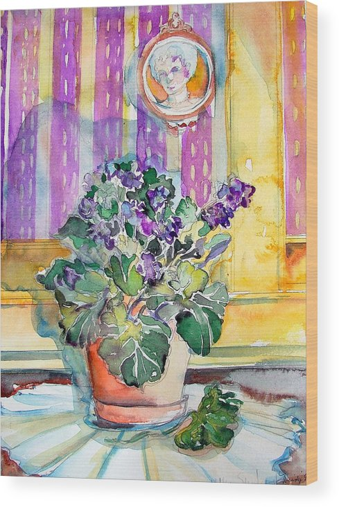 Violets Wood Print featuring the painting Grandmas' Violets by Mindy Newman