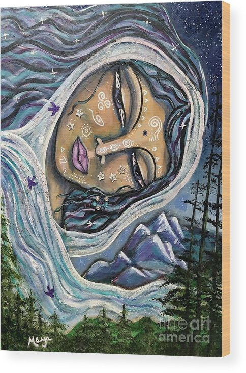 Divine Feminine Wood Print featuring the painting Great Star Mother by Maya Telford