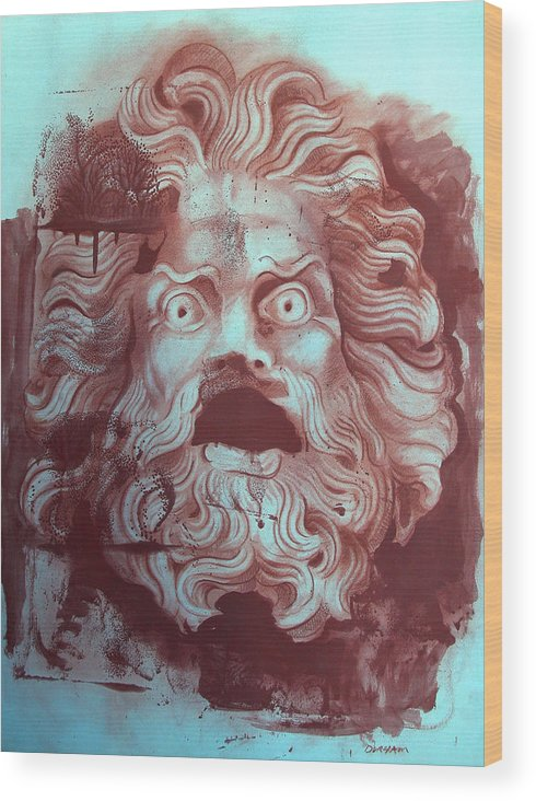Figure Wood Print featuring the digital art Greek Mask by Tom Durham