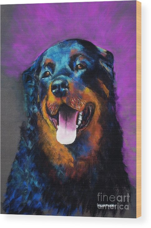Rottweiler Wood Print featuring the painting Gretchen by Frances Marino