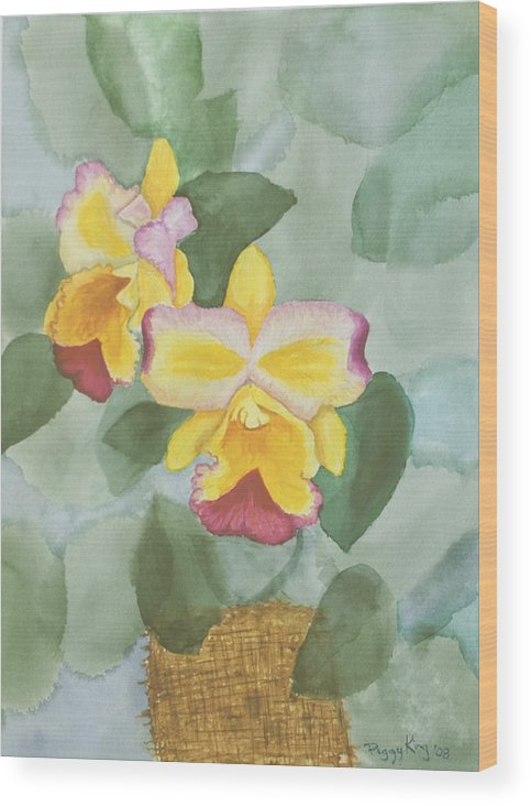 Orchids Wood Print featuring the painting Gypsy Orchids by Peggy King