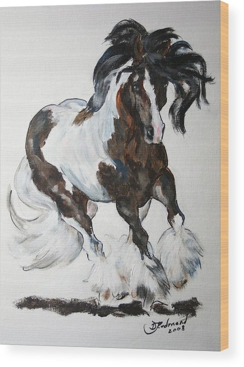 Paint Wood Print featuring the painting Gypsy Vanner by BJ Redmond
